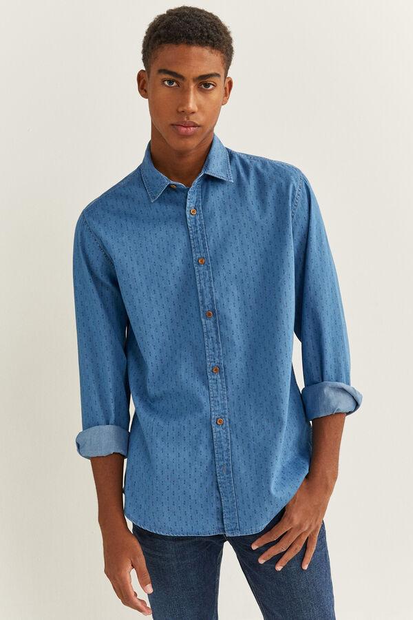 Camisa en denim con micro estampado y botones en contraste