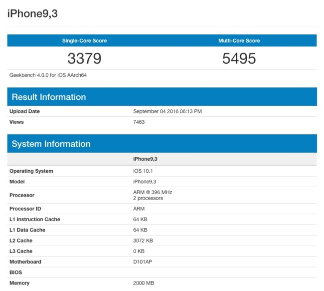 Iphone7 Geekbench