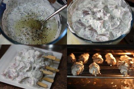 Receta de brochetas de pollo con salsa de yogur. Pasos