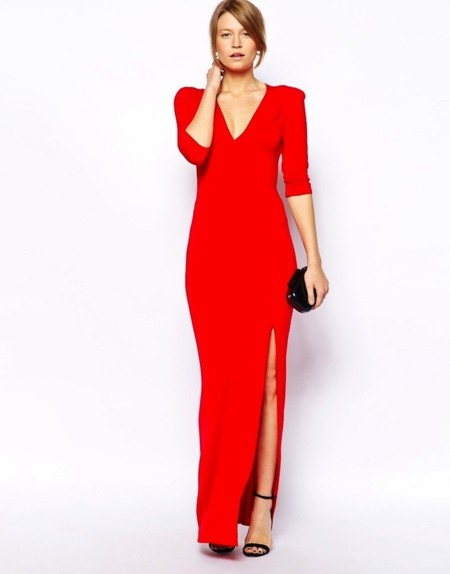 vestido largo love rojo