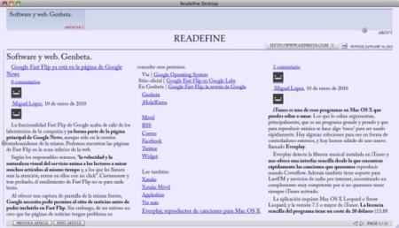 Readefine, lee cualquier feed RSS como si fuera un periódico