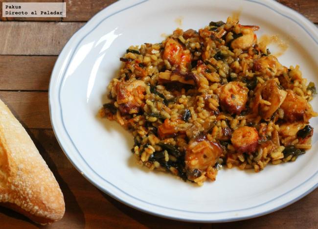 arroz con pulpo y algas wakame receta