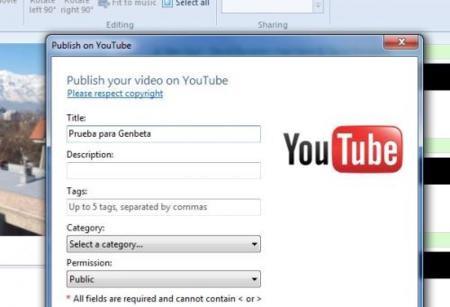 Windows Live Movie Maker, subiendo un vídeo a YouTube