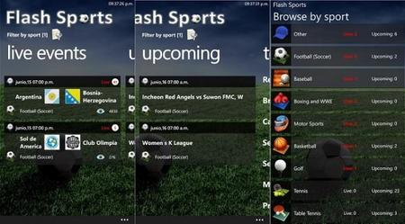 Flash Sports, mira los partidos del mundial desde tu Windows Phone