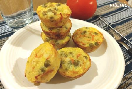 Muffins de arroz y guisantes: receta saludable