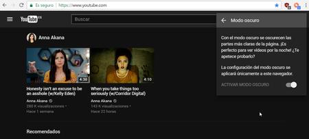 Youtube Modo Oscuro