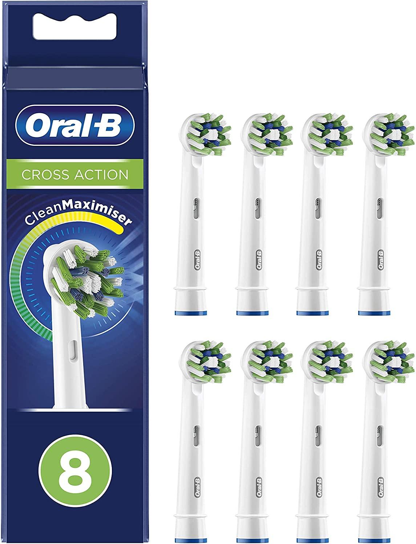 Oral-B CrossAction Cabezales De Recambio Con Tecnología CleanMaximiser, Tamaño De Buzón, Pack De 8