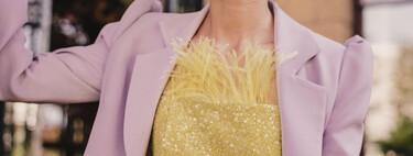 Cómo combinar un look de boda con una blazer, americana cropped o kimono