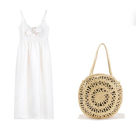 bolso y vestido blanco playa