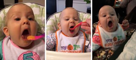 Los vídeos de la bebé que abre la boca para comer como si no hubiera un mañana
