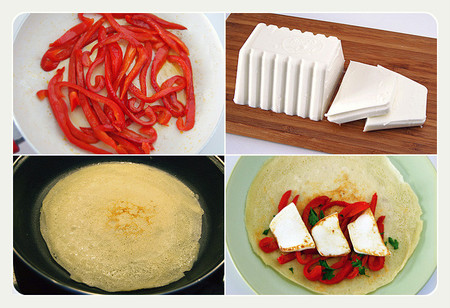 Crêpes salados rellenos de Burgo de Arias Lingote y pimiento