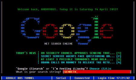 Google BBS, buscar en la web de hoy con el aspecto de los 80