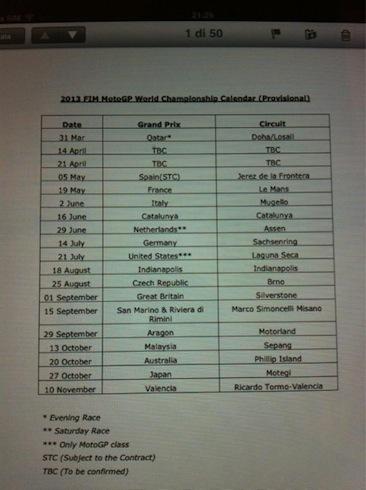Filtrado por twitter el calendario provisonal para el 2013 de MotoGP