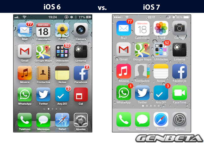 iOs 6 vs. iOS 7: Home