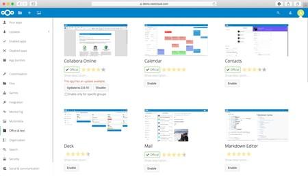 Una muestra de las aplicaciones que podemos añadir a Nextcloud