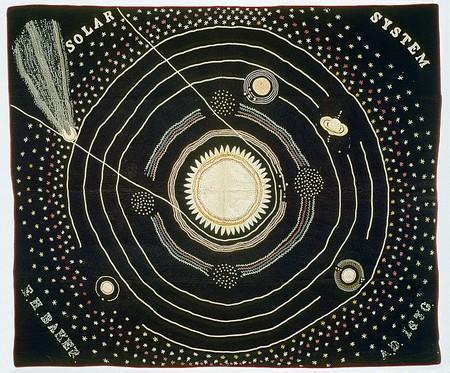 Este sistema solar fue bordado a mano por una mestra del siglo XIX para sus clases