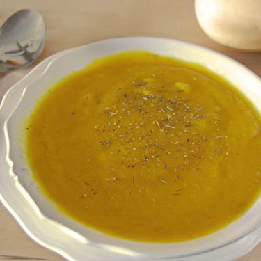 Receta de crema de berenjena, calabaza y manzana al curry