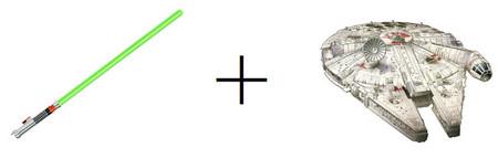 sable laser verde y halcon milenario