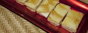 Mousse de foie y queso de cabra con manzanas caramelizadas, receta con Thermomix