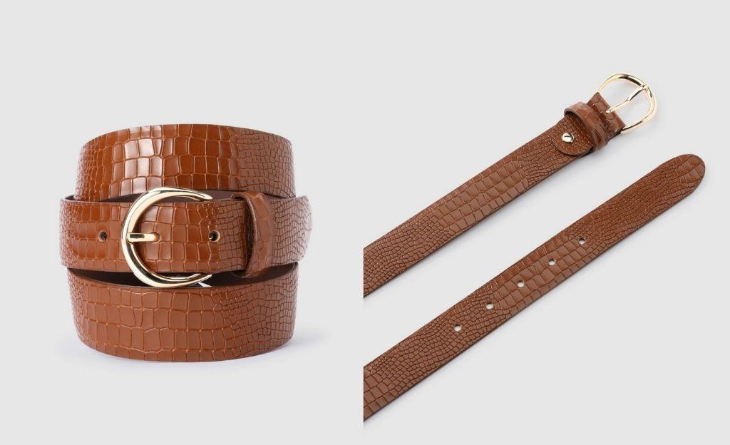 Cinturón de mujer El Corte Inglés de piel grabada en marrón
