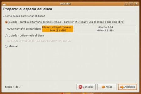 Instalar Ubuntu 8.04 - Particionado de discos