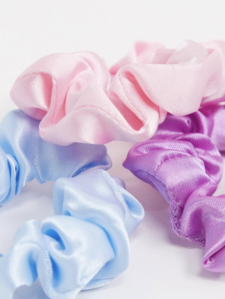 Pack de 3 coleteros finos de satén en azul, rosa y lila de ASOS DESIGN