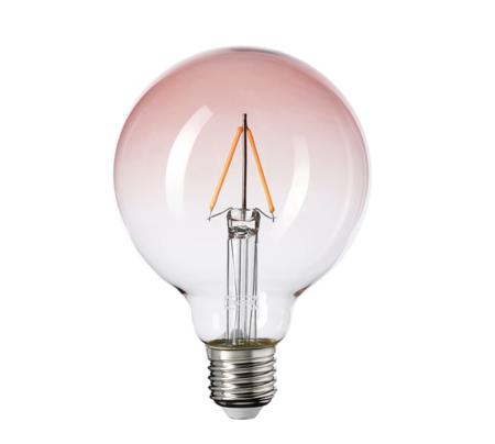 Bombilla LED E27 80 lm, globo vidrio rosa claro