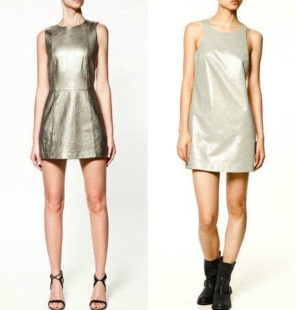 vestido metalizado zara