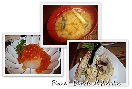Sopa miso, ikuraoroshi y tempura