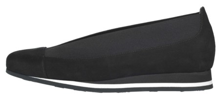Shirley Sneaker Sole Black Suede And Elastic Side