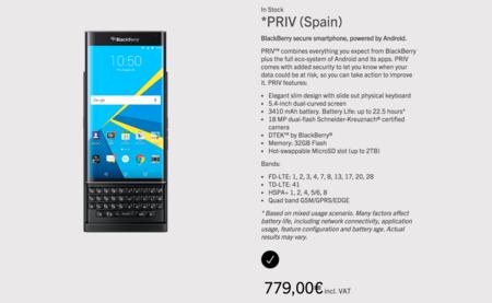 La BlackBerry Priv llega oficialmente a España, 779 euros es su precio