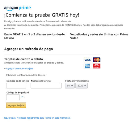 Prueba de Amazon Prime