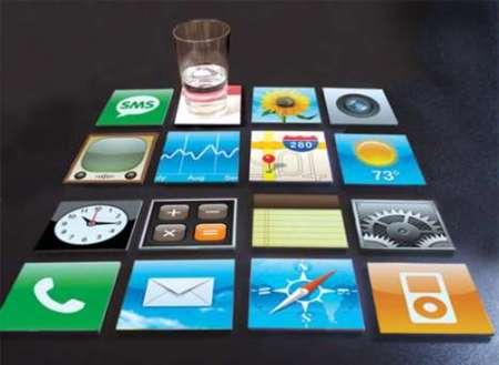 Posavasos con los iconos del iPhone