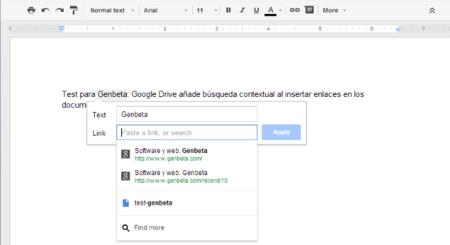 Google Drive añade búsqueda contextual al insertar enlaces en los documentos