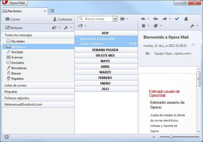 Interfaz Opera Mail 1.0 para Windows