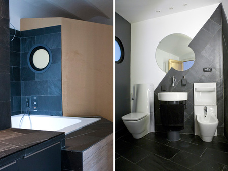 casa en oro, negro y blanco - baño