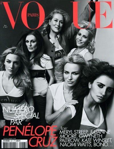 Penélope Cruz, Meryl Streep, Julianne Moore, Gwyneth Paltrow, Naomi Watts y Kate Winslet, Divas en Vogue