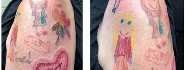 Decide tatuarse el brazo con dibujos realizados por sus hijas