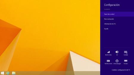 Configuración desde la barra de charms en el escritorio en Windows 8.1