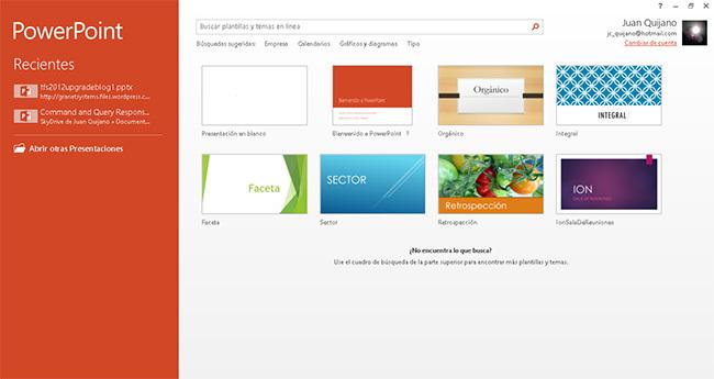 PowerPoint 2013, plantillas