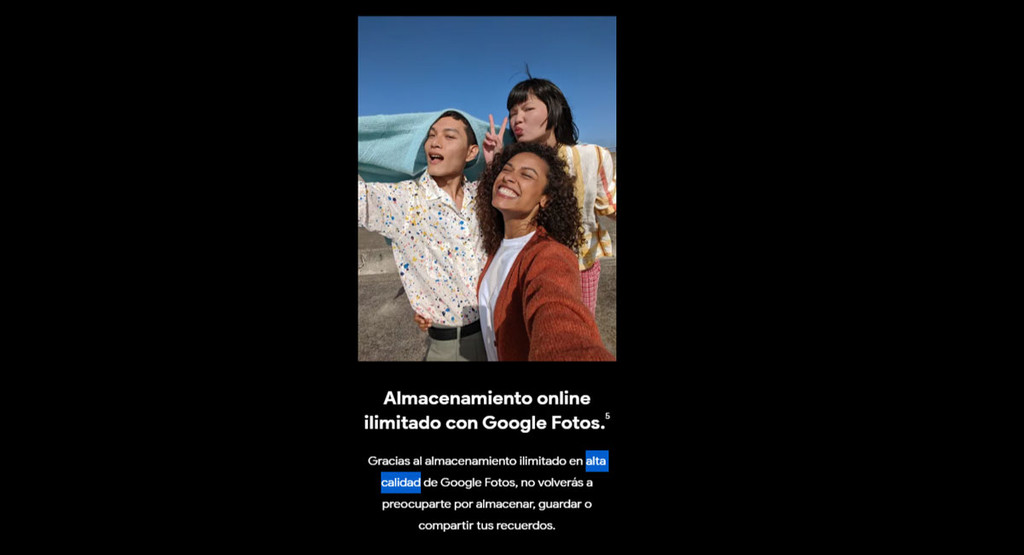 Los Google™ Pixel cuatro no tienen almacenamiento ilimitado a calidad original en Google™ Fotos