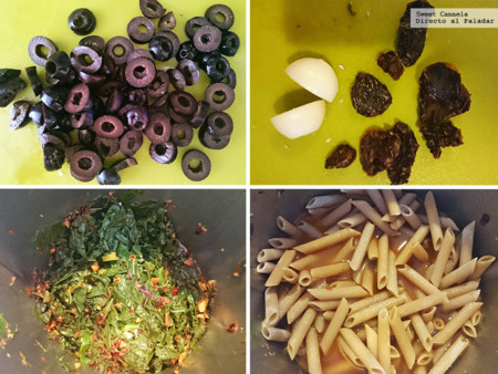 Preparacion Pasta Con Aclegas Y Aceitunas