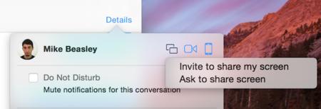 Ya es posible compartir pantalla con iMessage en la última beta de Yosemite