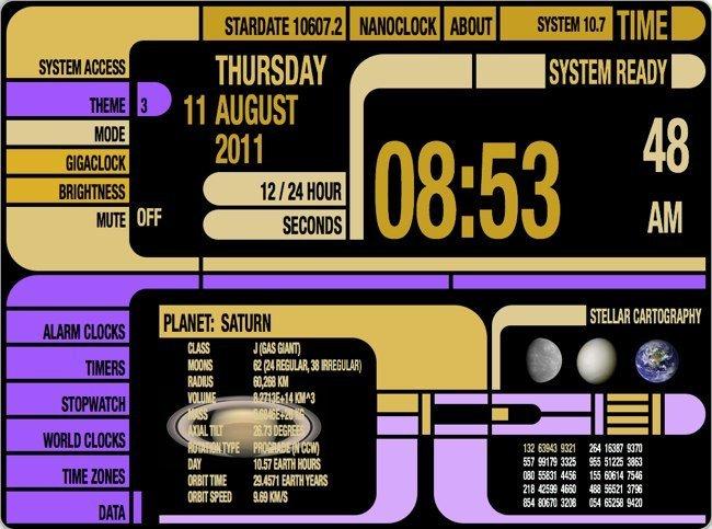 TimePlus, un reloj basado en la interfaz de LCARS de Star Trek