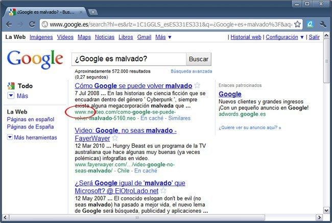 Resultados en Google sin http
