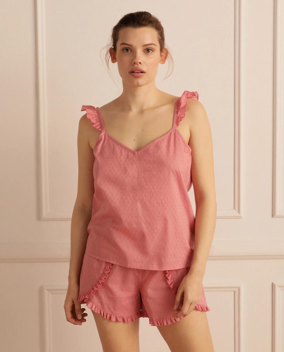 Pijama de mujer corto liso de tirantes de Énfasis