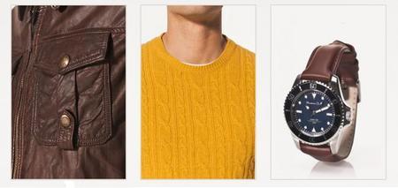 Chaqueta piel, jersey mostaza y reloj