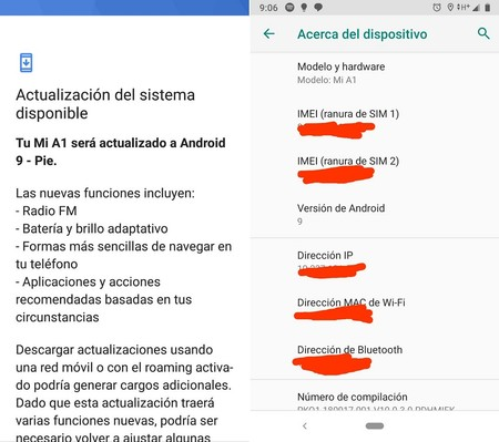 Android 9 Pie Xiaomi Mi A1 Mexico