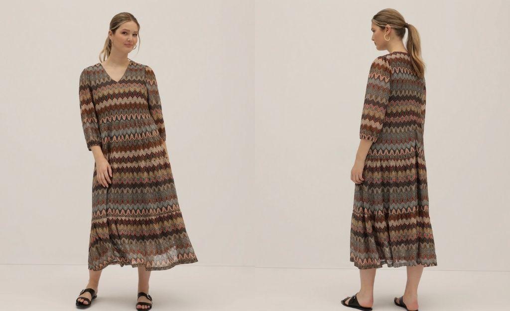 Vestido largo talla grande con cenefas
