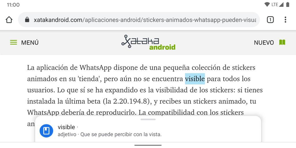 Chrome para Android-OS estrena las mas recientes definiciones contextuales: de este modo funcionan